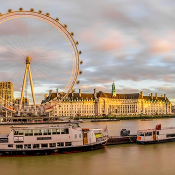 London Eye og Themsen i aftensol, England