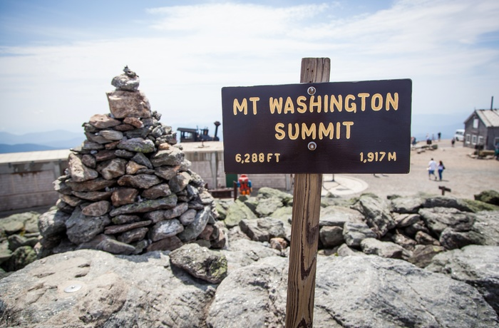 Toppen af Mount Washington i New Hampshire, USA