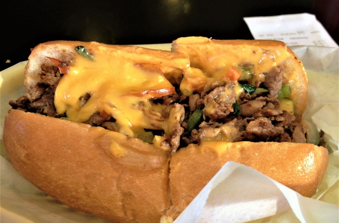 En klassisk philadelphia Cheesesteak, USA
