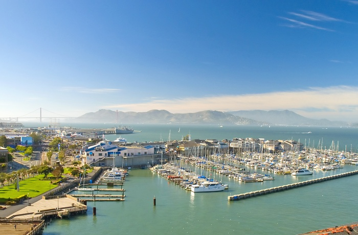 Udsigt til Fishermans Wharf i San Francisco, Californien