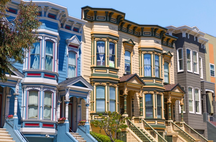 Smukke huse i Pacific Heights i San Francisco, Californien i USA