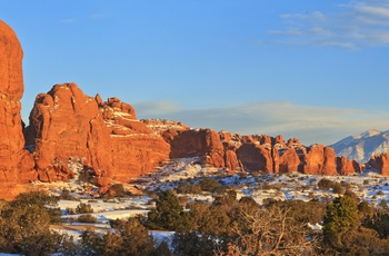 Arch i Arches National Park med sne