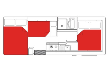 Mighty Big Six Floor Plan Night - motorhome i Australien