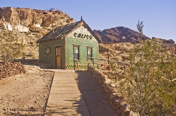 Glashus i Calico Ghost Town, Californien i USA