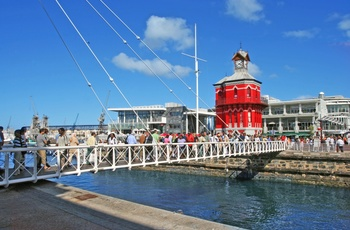 Info-skilt i Waterfront - shopping- og forlystelsescenter i Cape Town, Sydafrika
