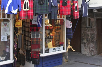 Butik på The Royal Mile i Edinburgh, Skotland