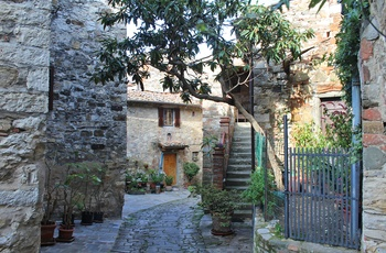 Smal gade midt  i Montefioralle, Toscana