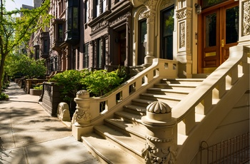 Brownstones på Manhattan NYC