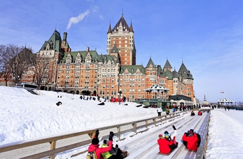 Chateau Frontenac hotellet og Dufferin Terrace centrum af Quebec City, Canada