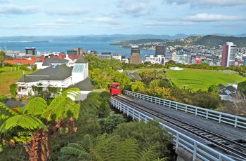 Kabelbanen / sporvognen til Botanisk Have i Wellington, New Zealand