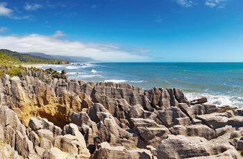 Pancake Rocks - klippeformationer på Sydøen, New Zealand